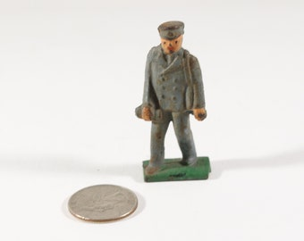 Vintage Barclay Manoil Lead Figure, Train Conductor or Mailman, 1950s