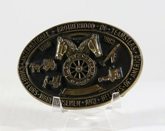 """Vintage Belt Buckle Brotherhood Of Teamsters Solid Brass Buckle 1970s 4"""" x 2.75"""""""