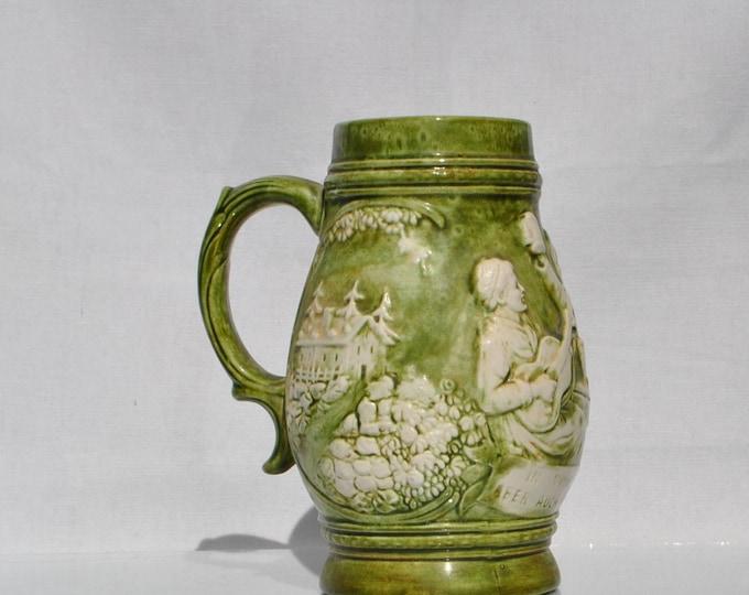 "Vintage Green Beer Stein Handcrafted Pottery German ""in vino veritas aber auch im bier etwas"" Beer Mug, Hand Painted, German Beir Stein,"