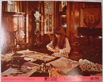 Vintage Lobby Card Mia Farrow Secret Ceremony 1968 - Movie Promotion - Elizabeth Taylor - Robert Mitchum - Peggy Ashcroft  - Pamela Brown