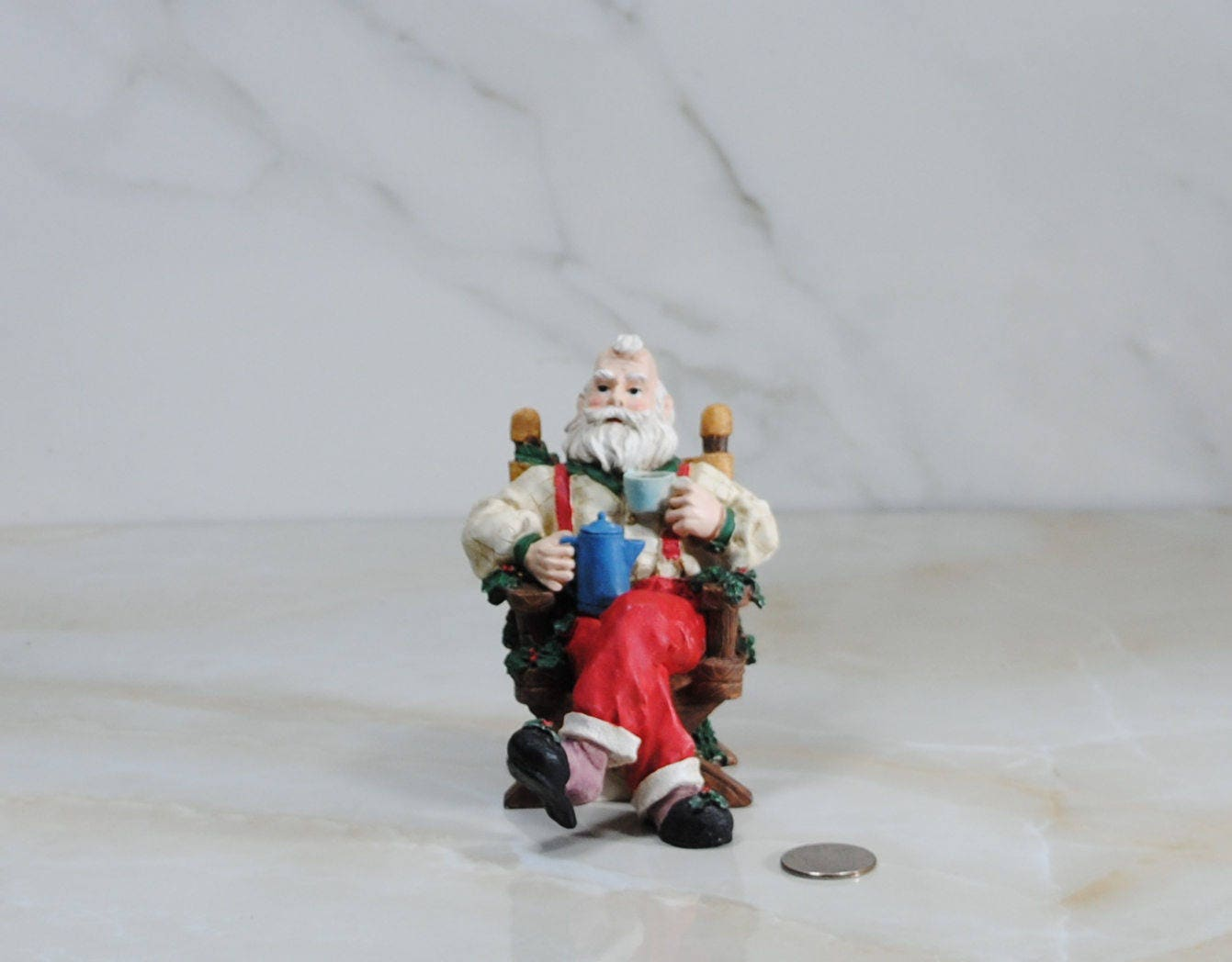 vintage house of lloyd santa clause incense burner from christmas around the world smoke comes from his coffee cup and pot - Christmas Around The World House Of Lloyd