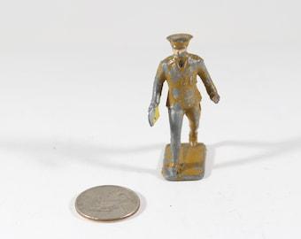 Vintage Barclay Manoil Lead Figure, Train Conductor, 1950s, Original Paint, Lead Cast Toy, Hand Painted, Vintage Toy