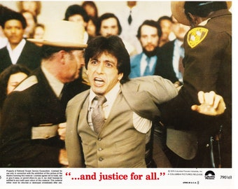 Vintage Photograph , Lobby Card, Al Pacino, and Justice for all, 1979, 8x10, Color Lobby Card