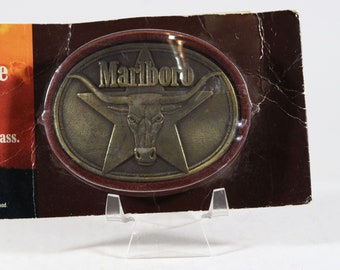 "Vintage Belt Buckle Marlboro Solid Brass Buckle Longhorn Bull 1980s 3.25"" x 2.25 Factory Sealed"