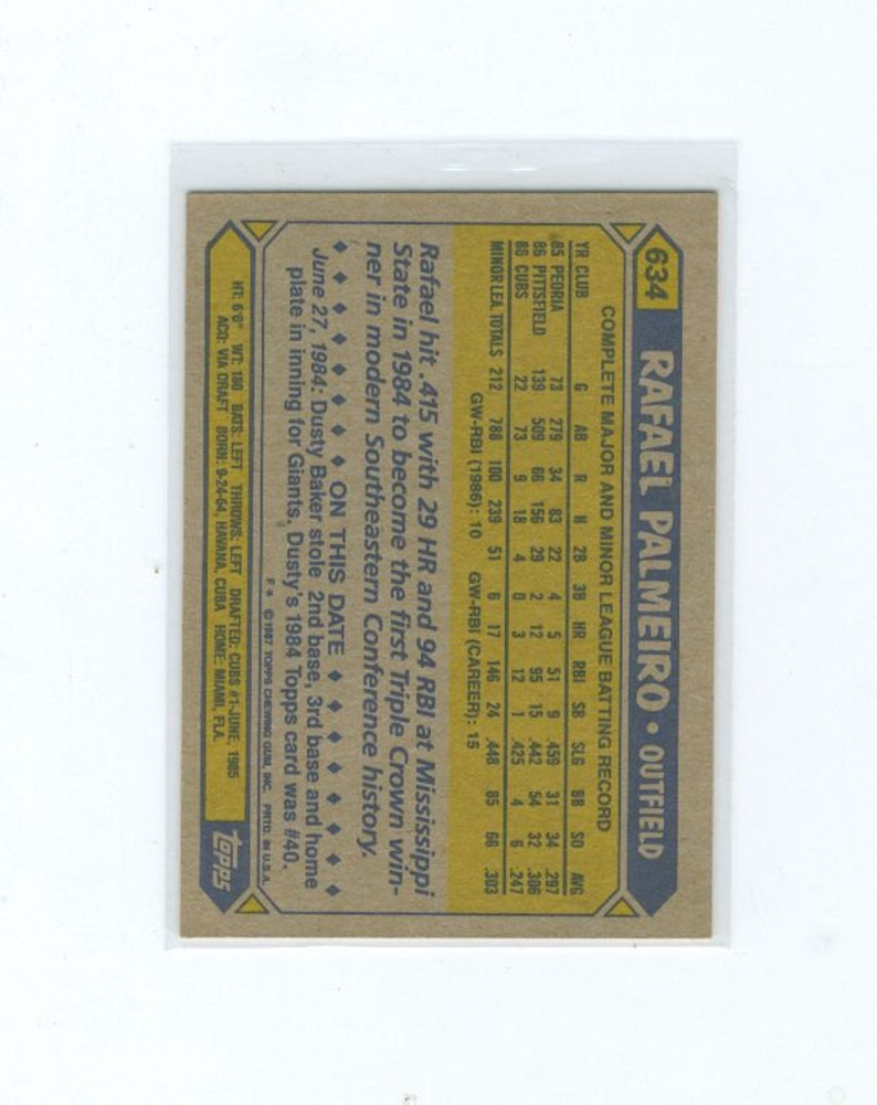 Vintage Baseball Card Collectors Card MLB 1987 Rafael Palmeiro 634 Rookie Card Baseball TOPPS Sports Card Cincinnati Cubs Outfield