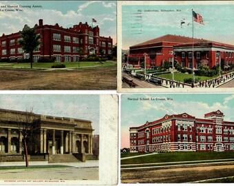 Vintage Postcards, 4 Canceled Cards, Wisconsin Landmarks Early 1900s, The Auditorium, La Crosse High School, Exterior Layton Art Gallery
