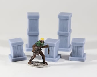 Lot Of D&D RPG Minis 28 mm Pillar Assortment Scatter Lot, Dungeons, Dragons, Role Playing, 3D Printed, PLA, Tabletop Game, Fantasy