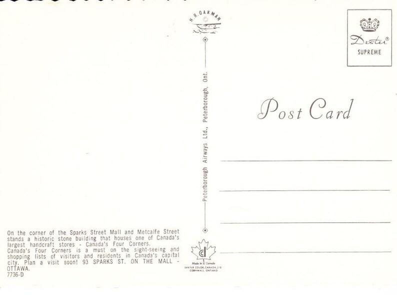 Postcard Scrapbooking Ephemera Vintage Postcard 1970s Canada/'s Four Corners Ottawa Ontario Vintage Paper Vintage Print