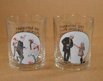 Vintage Norman Rockwell Saturday Evening Post Bar Glasses, Set of 2