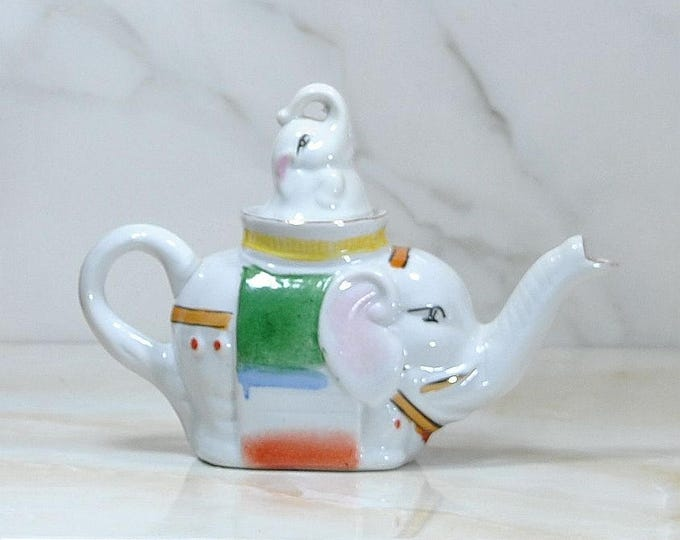 Featured listing image: Vintage Ceramic Elephant Teapot With Baby Elephant Lid