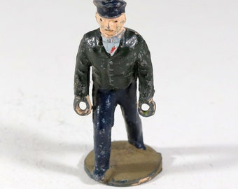 Vintage Barclay Manoil Lead Type Figure, Train Conductor, 1950
