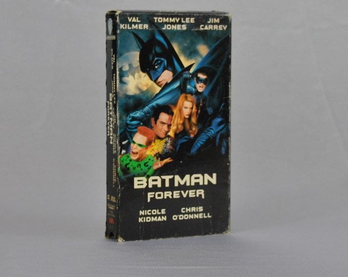 Vintage VHS Tape Batman Forever 1995 - Val Kilmer - Tommy Lee Jones - Robin - Joker - Riddler - Two Face - Bruce Wayne - Jim Carrey