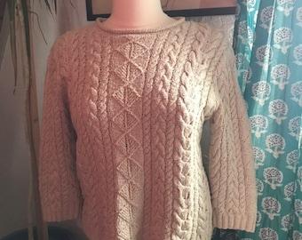 37ad5254b Vintage Ralph Lauren Cable Knit Nubby Pullover Sweater Cotton Silk Linen  Blend