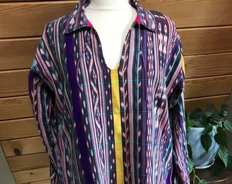 Vibrant Guatemalan Ikat Woven Cotton Pullover Tunic Top Medium