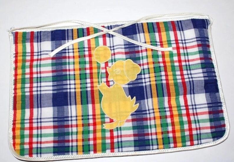 c1960s Yellow Duck w Balloon Applique Blue Plaid Fabric Baby Nursery Pocket Apron