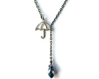 umbrella necklace with crystal drop, rainbow crystal necklace, rain necklace, unique necklace, vintage style necklace