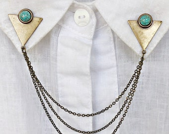 triangle collar pins with turquoise stones, chain pin, collar chain, collar brooch, lapel pin, triangle pin,  triangle chain pin