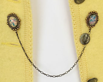 pink opal sweater pins, opal sweater clips, opal brooch, opal pin, opal collar pins, sweater clip with chains, collar pin with chains