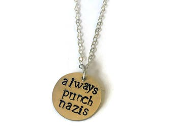 Resist Necklace Rectangle Feminism Trump Resistance Bar Necklaces Stainless