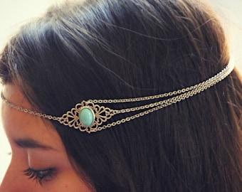 silver turquoise head chain, chain headband, turquoise headband, metal headband, unique headband