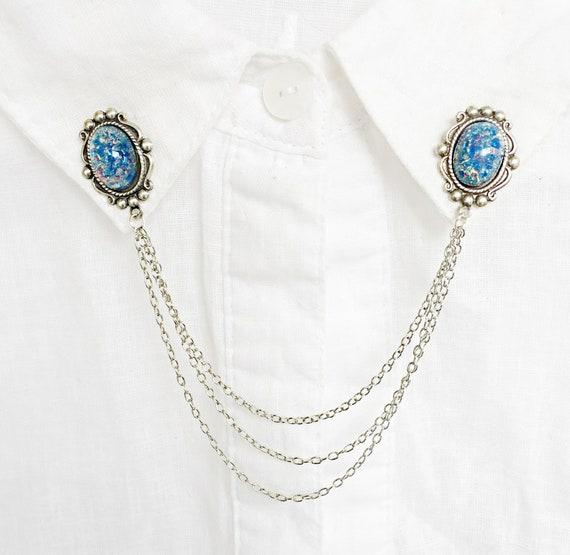 purple opal collar pins opal collar chains opal sweater clips purple opal sweater pins opal brooch with chains purple opal brooch