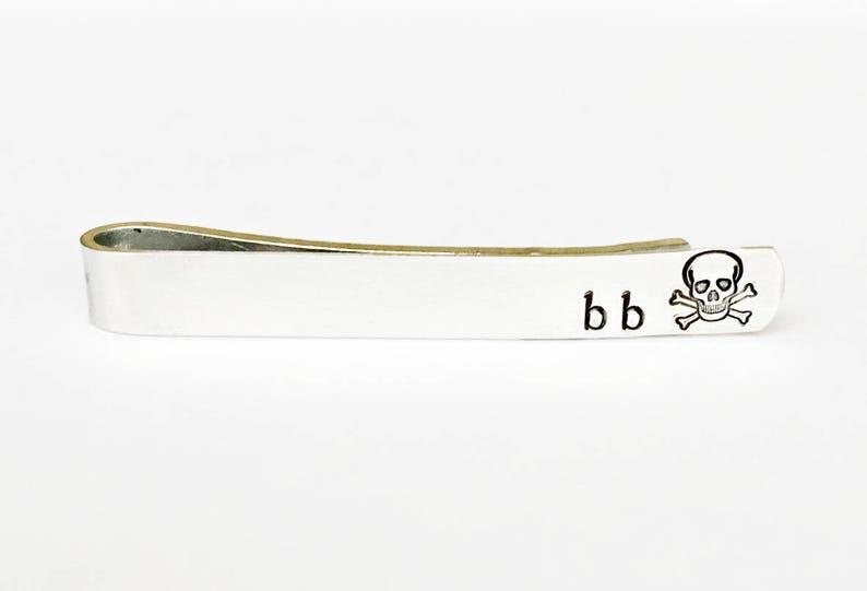 04856a0e3ca1 Personalized skull tie clip silver tie bar hipster tie clip | Etsy