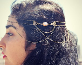 pink opal boho head chain, chain headband, pink opal headband, metal headband, unique headband
