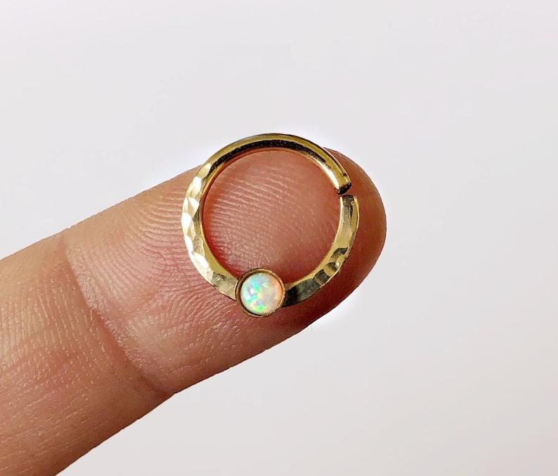 White Opal Septum Ring Gold Filled Septum Ring 8mm Gold Etsy