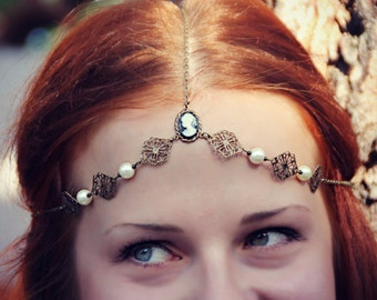 black cameo bridal head chain with faux pearls,  wedding jewelry, formal head chain, bridesmaid jewelry