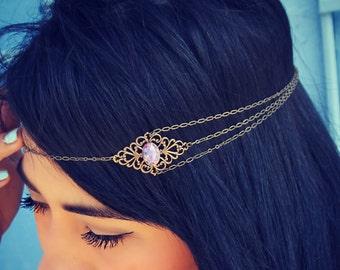 boho head chain, chain headband, pink opal headband, metal headband, unique headband