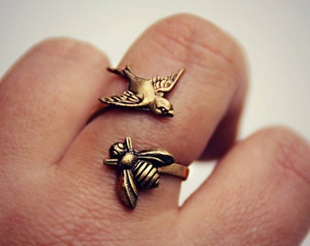 Bird Friendship Rings Feather Rings Wing Ring Ring Set