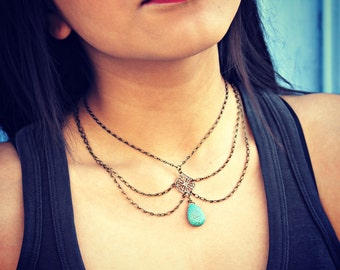 turquoise choker collar, peterpan collar, body chain, unique necklace, statement necklace