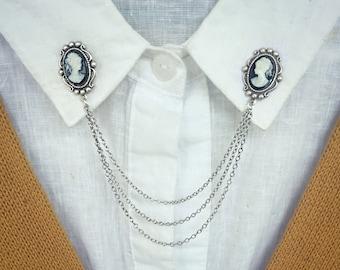 silver cameo collar pins, collar chain, collar brooch, lapel pin, cameo pin, cameo brooch