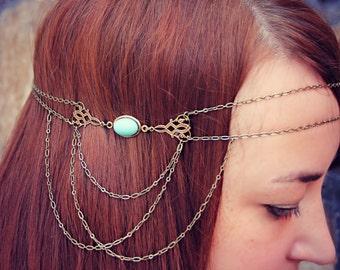 aqua blue head chain, chain headband, flapper headband, bridal headband, unique headband