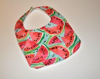 Watermelon Baby bib,  Watermelon Bib, Terry cloth backed baby bibs, Watermelon print bib, Baby bib, Blue Watermelon bib, Summer baby bib