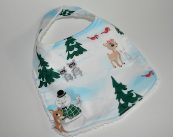 Rudolph baby bib, Rudolph the red nosed reindeer baby bib, Rudolph bib, Rudolph the red nosed reindeer, Christmas baby bib, Christmas bib