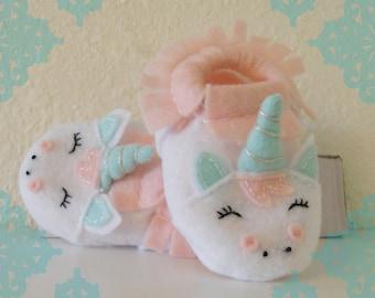 Sale- Felt Unicorn Baby Slippers- Pink, Purple and Mint Felt Unicorn Baby Shoes