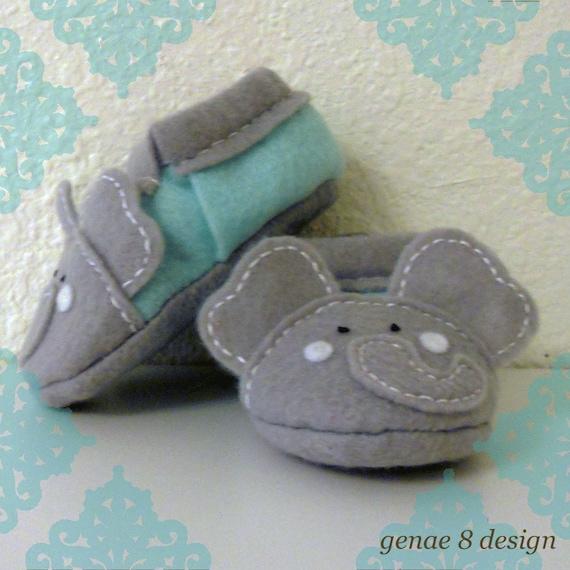 new styles 2ca4b dd285 Sale- Felt Elephant Baby Slippers- Grey and Light Mint Felt Elephant Baby  Shoes- Buy 2 Get 1 Free