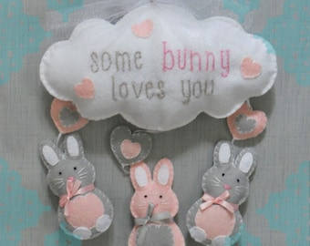 Some Bunny Loves You Sweet Dreams Felt Owl Mobile- Bunny Wall Hanging