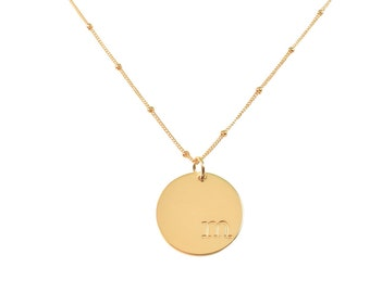 The Allyson Necklace. 3/4 Inch Disc on Satellite Chain