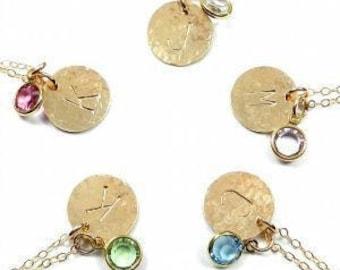 The Shelby. Initial necklace with Swarovski birthstone