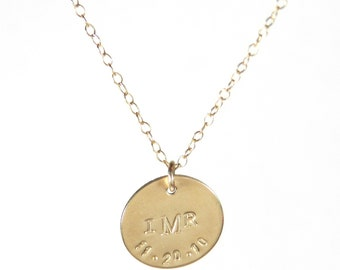 The Christina monogram and birthdate necklace