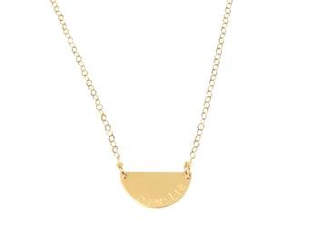 Luna Necklace. Half Moon Necklace.