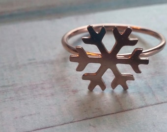 Rose Gold Snowflake Ring.  Winter Jewelry. Simple. Modern. Gift for Her. Christmas Gift. Stocking Stuffer