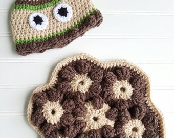 Handmade crocheted premie turtle shell blanket and hat perfect for those newborn pictures