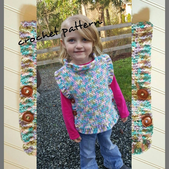 Crochet Poncho Pattern Child Clothing Crochet Pattern Easy Etsy