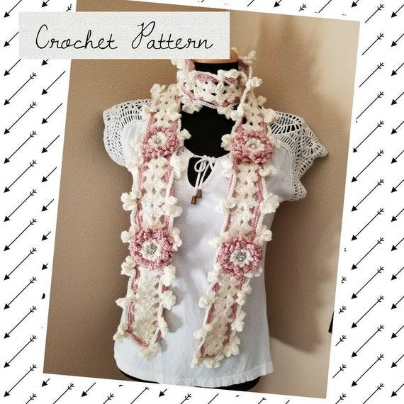 Fairy Wedding Scarf Crochet Pattern Bohemian Flower Scarf Etsy