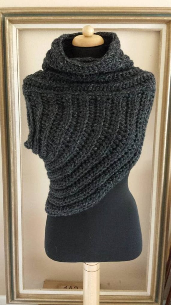 Gothic Katniss Cowl Ooak Sweater Post Apocalyptic Cowl Etsy