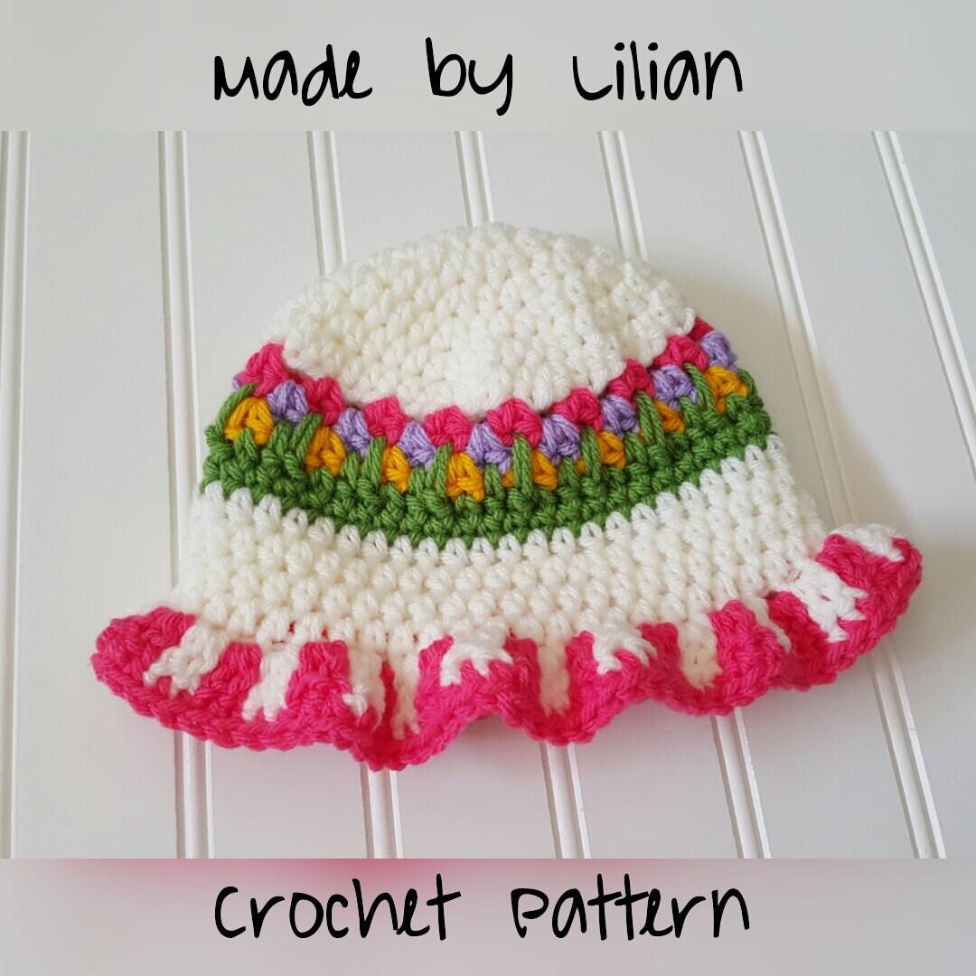 Crochet Baby Hat Pattern Flower Garden Sun Bonnet Pattern Etsy