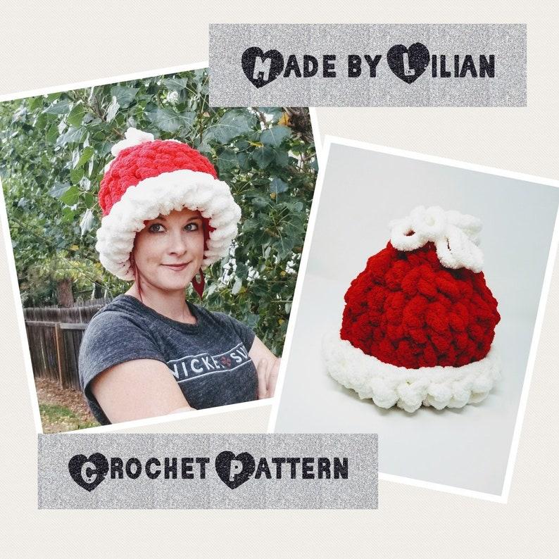 Santa Hat Crochet Pattern Chunky Winter Santa Hat Chenille Etsy